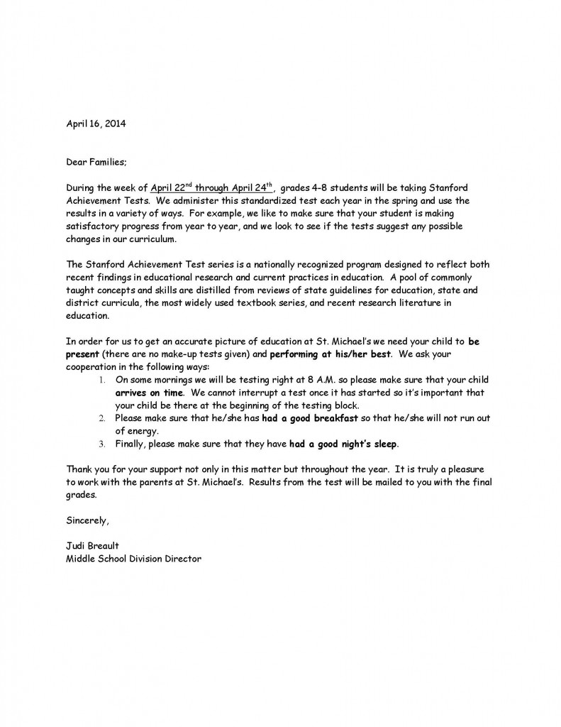 Middle School Testing Letter